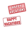 Grunge textured stamp with words Happy Vacation vector image
