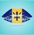 barbados flag lipstick on the lips isolated on a vector image