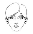 beauty face woman short hair comic style vector image