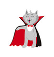 flat cat dressed up like count dracula vector image