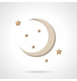 Flat color crescent icon vector image