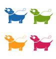 Icons funny cartoon dog vector image