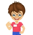 little nerd boy showing his blank name tag vector image
