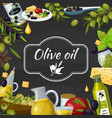 olive oil cartoon blackboard composition vector image