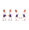 set of female clerk in walking and running poses vector image