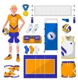 Set of symbols logos and icons of volleyball vector image