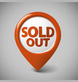 round 3d pointer for a sold out item vector image