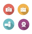 Digital camera flat design icons set vector image