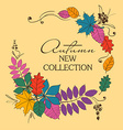 Colorful Autumn Leaves In A Circle Shape vector image