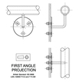 First Angle Orthographic Projection vector image vector image