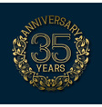 Golden emblem of thirty fifth years anniversary vector image