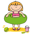 little girl on the beach vector image
