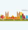 sanaa yemen skyline with color buildings and vector image