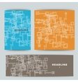 Set of abstract shapes on color background vector image