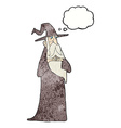 cartoon old wizard with thought bubble vector image