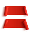 Two curved red banners vector image vector image
