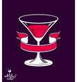 Cartoon martini glass and ribbon emblem vector image