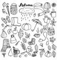 autumn doodle set vector image
