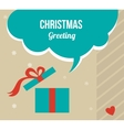 christmas greeting card with retro colored present vector image