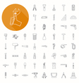 Hand tools icons thin icon design vector image