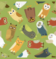 owls cartoon cute bird set owlet character vector image