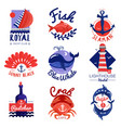 nautical emblems set vector image