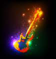Grunge musical instruments on black Guitar vector image vector image