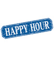 happy hour blue square vintage grunge isolated vector image