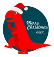 Cute Tyrannosaurus Rex Santa vector image