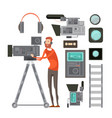 film cameraman with video equipment vector image