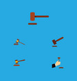 Flat icon hammer set of law hammer court and vector image