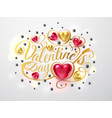 happy valentines day gold font composition with vector image