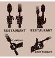 set of grunge vintage emblems of restaurant with vector image