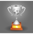 Soccer ball trophy silver cup bacground vector image