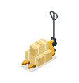 warehouse forklift cart with boxes isometric icon vector image