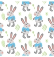 Seamless pattern with cute rabbits vector image vector image