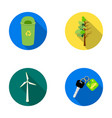 a garbage can a diseased tree a wind turbine a vector image