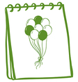 A notebook with a drawing of balloons at the cover vector image