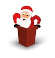 Christmas smiling Santa Claus character in chimney vector image