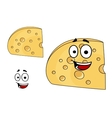 Piece of cheese with holes and a smiling face vector image