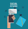 social network hand hold smartphone dialogue book vector image