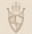 viking warrior set - shield crossed swords and vector image