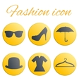 Yellow fashion realistic button set vector image