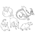 cat dragon pig rat sheep vector image