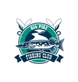 Fishing sport club badge sign vector image