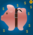 Saving money with pig coin bank vector image