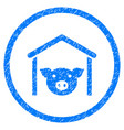 pig farm rounded grainy icon vector image