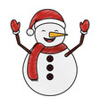 snowman with winter hat vector image