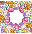 card with various sweets vector image