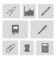 monochrome set with office icons vector image
